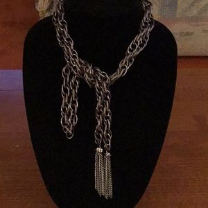 "56"" Long GUNMETAL SCARF NECKLACE with TASSELS"